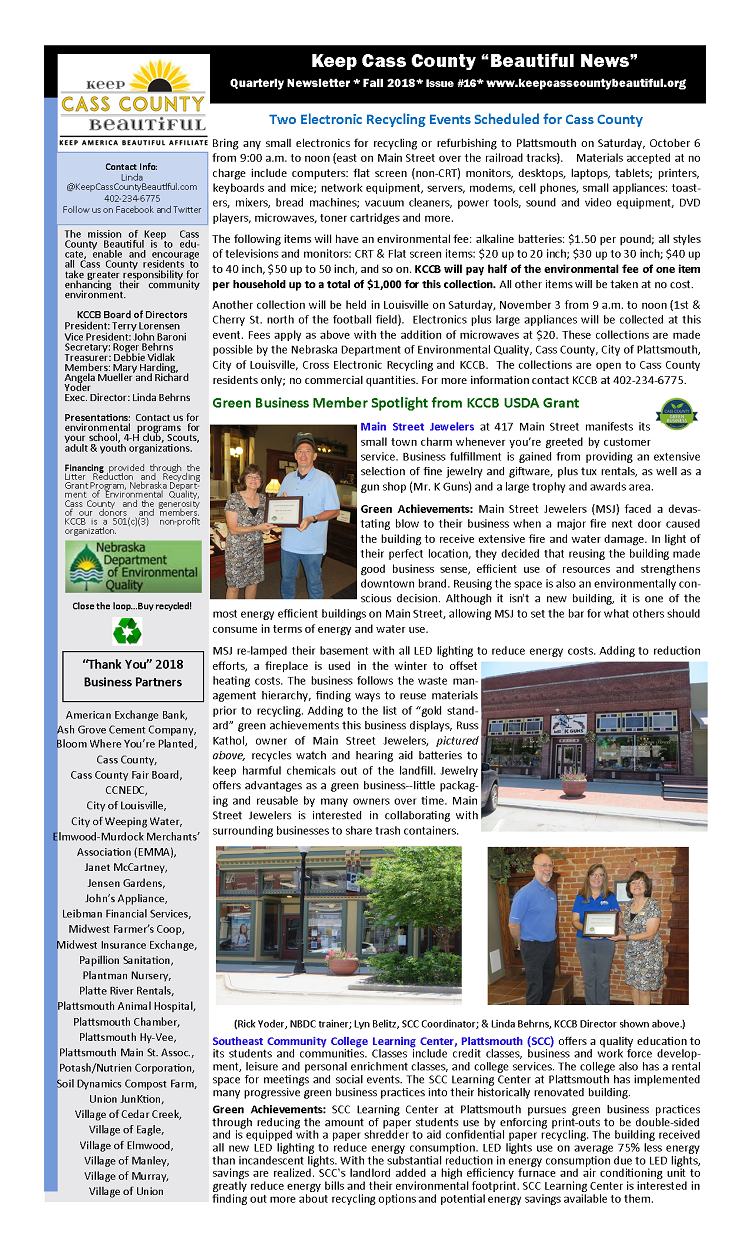 2018 Fall Newsletter pg.1